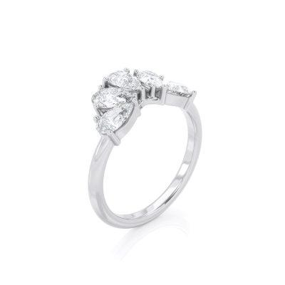 טבעת 5 יהלומי טיפה   אפרת