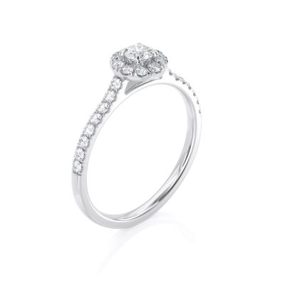טבעת יהלום הילה