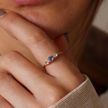 טבעת זהב ואבן חן ספיר | סרי לנקה
