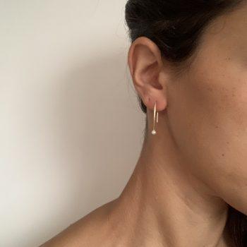 עגיל שרשרת פנינה | chain pearl earring