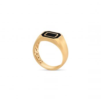 טבעת חותם אמייל | Dual Octagon