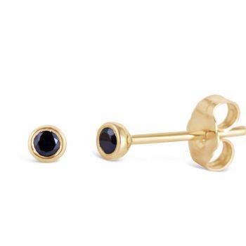 עגילי יהלום שחורים צמודים | סימה