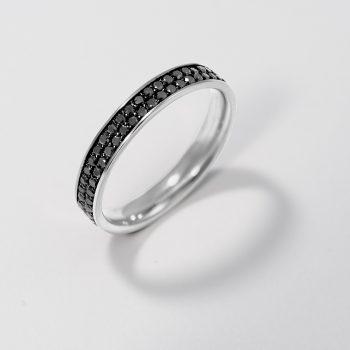 טבעת איטרנטי מלאה שתי שורות | יהלומים שחורים