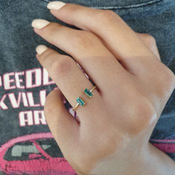 טבעת אמרלד חיתוך בגט
